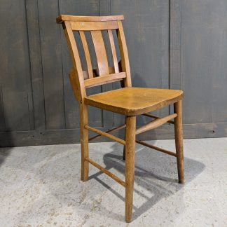 Egham Pale Vintage 1950's Elm & Beech Slatback Church Chapel Chairs