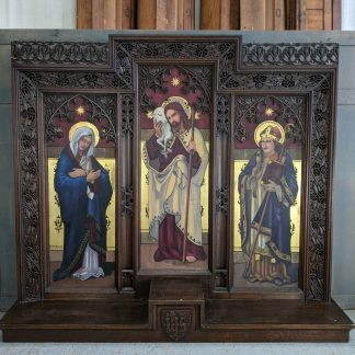 Very Highly Decorative Antique Carved & Painted Oak Reredos Altar Panel