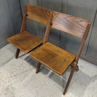 Hove 1930's Vintage Oak 2-Seater Folding Church Chairs Benches