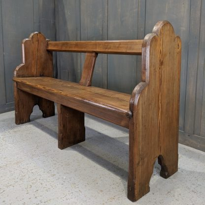 Unknown 19th Century Pitch Pine Surrey Church Chapel Open Back Pew Bench