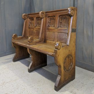 Special Gothic Cheshire Two Seater Antique Oak Clergy Church Pew Bench