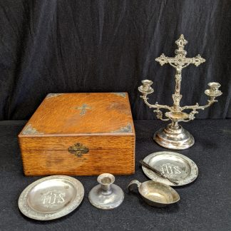 Antique American Communion Victorian Travelling Sick Call Set in Beautiful Oak Box