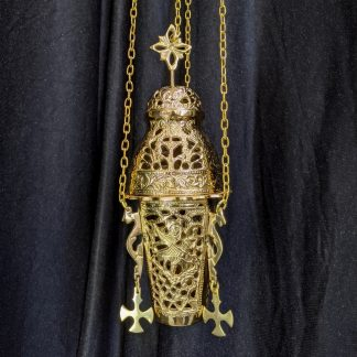 Hanging Votive Lamp Heavyweight Brass Eastern Orthodox Style