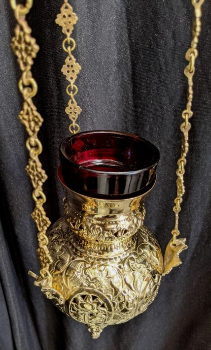 Larger Sized Candle Powered Brass Sanctuary Lamp with Roses & Putti Chain Holders