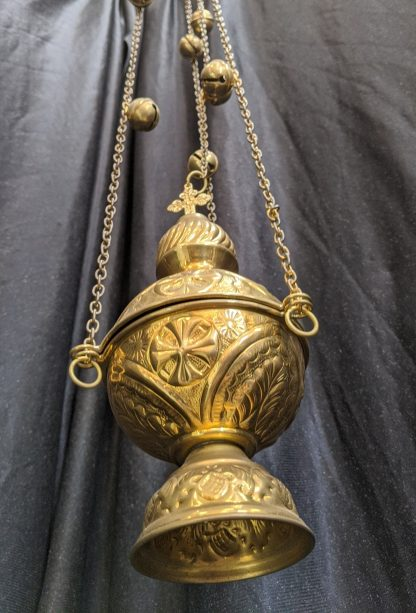 Brass Thurible, Censer, Incense Burner with Bells, Stylised Crosses & No Piercings