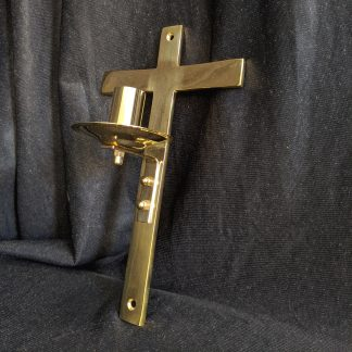 Solid Brass Wall Mounted Votive Cross Candle Holder