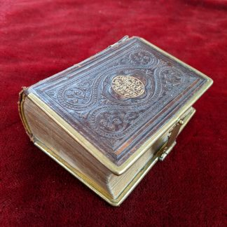 1869 Stylish Heavily Embossed Brown Leather Pocket Book of Church Services