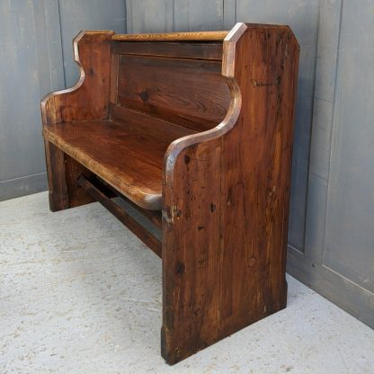 South Ferriby Sweet Panel Back Antique Pitch Pine Church Chapel Pew Bench