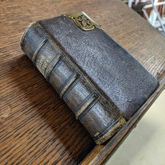 Circa 1850 Compact Brown Leather Bound Book of Church Sevices