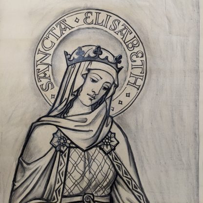 Original Stained Glass Window Cartoon - Sancta Elisabeth