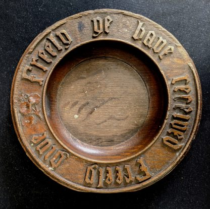 'Give Freely' Victorian Oak Collection Plate with Carved Legend & Flowers