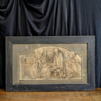 Charcoal, Pencil & Gouache Original Framed Drawing of the Nativity by Reginald Hallward