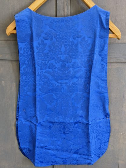 'Servers Tunic Royal Blue Damask' with Simple Gold Cross