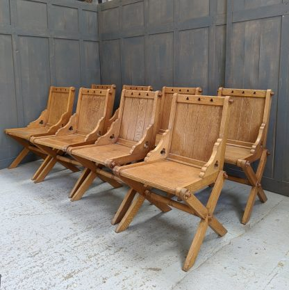 1930's Late Gothic Oak Ministers Chairs from Tunbridge Wells Baptist Church