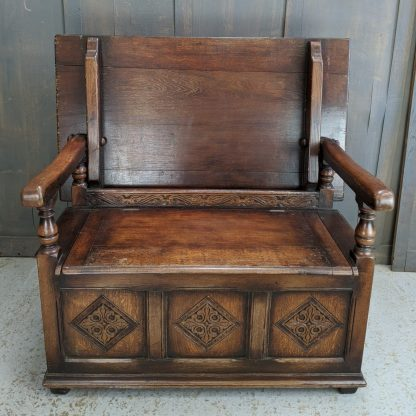 Very Heavy Solid Oak Vintage Monks Bench with Carved Plaques