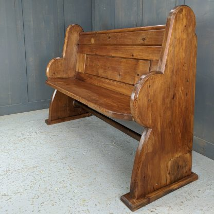 Antique Golden Pine Gallery Pew with Big Curve Ends from Tunbridge Wells Baptist Church