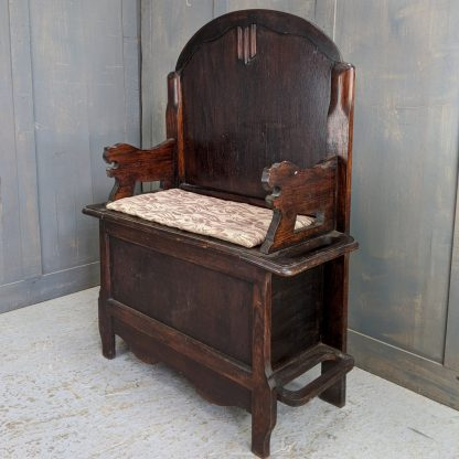 Highly Original, totally 1930's Dark Oak Hall Settle with Twin Umbrella Holders
