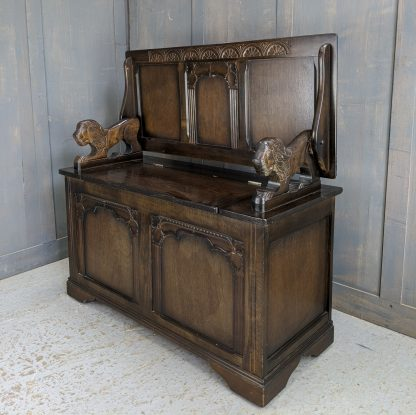 Classic Dark Wood Five Panel Vintage Monks Bench by Stanley Wood