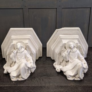 Pair of Antique Wall Mounted Angel Plinths, Stands, Capitals for Statues or Flowers