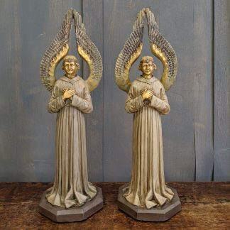 Pair of Rare 1930's Vintage Plaster of Paris Angels