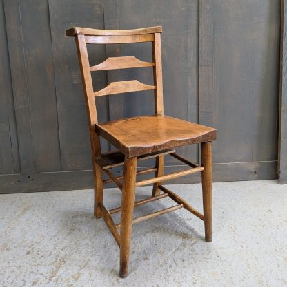Quality 1900's Double Pilgrim Slat Back Elm & Beech Church Chapel Chairs #2