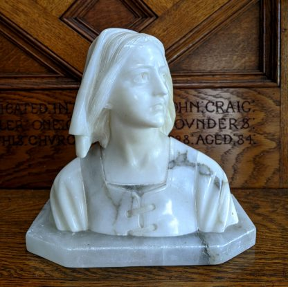 Hand Carved Antique Marble & Alabaster Bust of St Joan of Arc