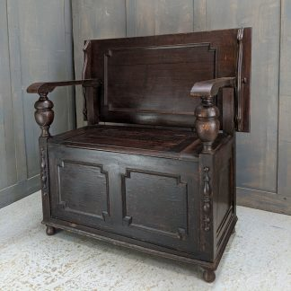 Queen Anne Style Vintage Dark Oak Monks Bench