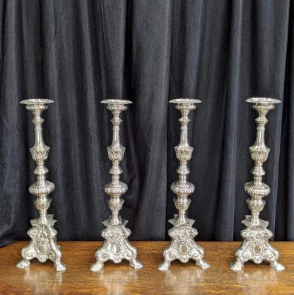 Set of 4 Nickel/Silver Plated Baroque Style Altar Candlesticks