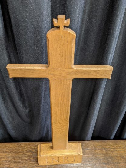 Simple Oak INRI Altar Cross with Extra Small Cross