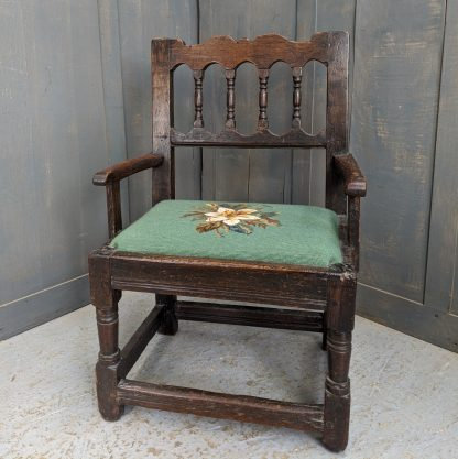 Smaller Sized Antique Elbowed Oak Chair Mostly 17th Century