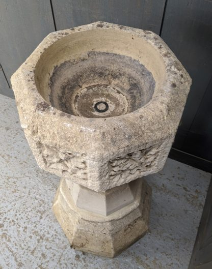 Early Victorian Weathered Sandstone Church Baptismal Font from St Saviours, Sunbury