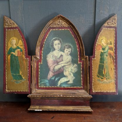 Pretty Smaller Size Vintage Flemish Triptych with Angels, Madonna & Child