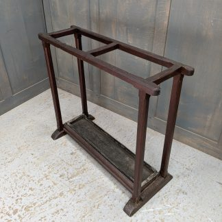 Antique Pine Umbrella Stick Stand with Original Tin Tray