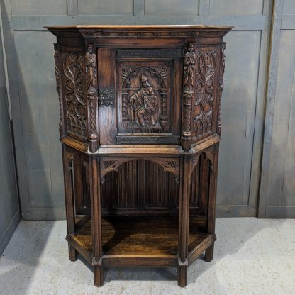 Antique Gothic Ecclesiastical Inspired Carved Oak Cabinet Cupboard on Stand