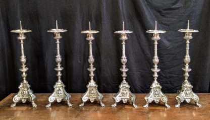 Top End Antique Silver Plated Bronze 'Big Six' Church Altar Candlesticks