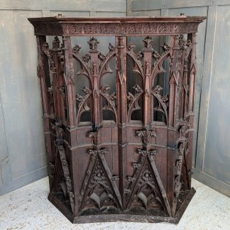 Antique Victorian Ornate Gothic Carved Pulpit Reading Platform Section of Panelling