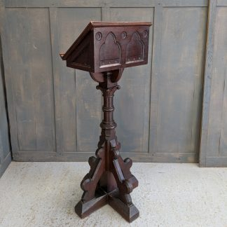 Handsome Victorian Antique Baltic Pine Gothic Church Pedestal Lectern from Gloucester