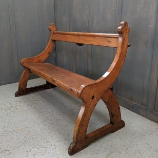 Shapely 'Y' Ended Antique Church Bar Back Bench