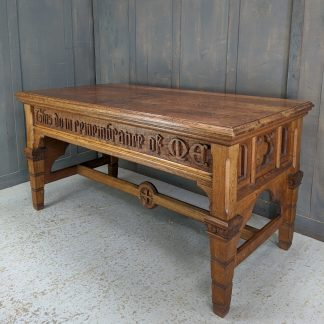 Excellent Victorian Antique Carved Oak Communion Table 'This Do in Remembrance of Me'