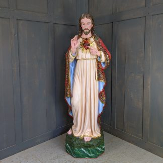 Life Size Jesus Sacred Heart Statue Recently Restored No Expense Spared
