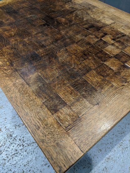 Excellent Quality Oak Chequerboard Top X Frame Drawleaf Table