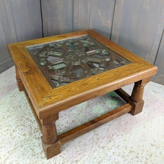 'Behold the Bread of Angels' Gothic Oak Coffee Table