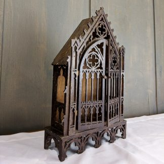 Decorative Antique Gothic Housing Miniature Cupboard for Small Statue or Devotional Item