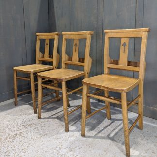 3 Splatback Pale Beech Church Chapel Chairs with 'Toadstool' Cutaways 'B'