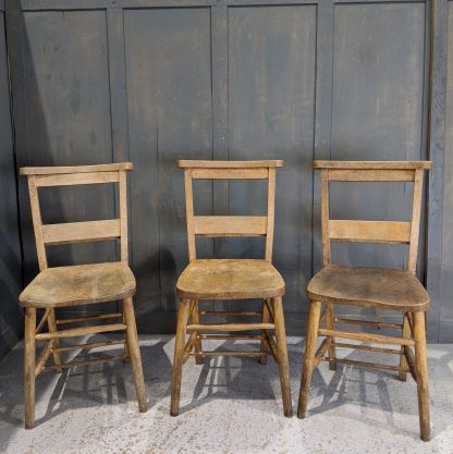 3 Classic Elm & Beech Church Chapel Chairs with Brackets 'D'