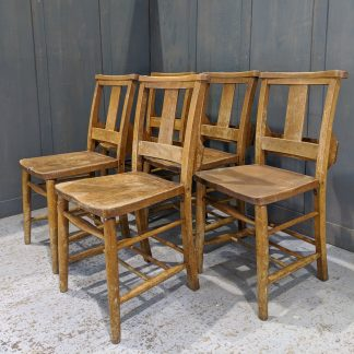 Set of 5 Elm & Beech Church Chapel Chairs with Brackets 'E'