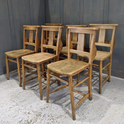 Harlequin Set of 6 Beech Splatback Church Chapel Chairs 'F'