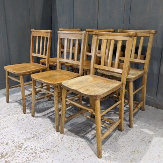 Harlequin Set of 6 Slatback Church Chapel Chairs 'J'