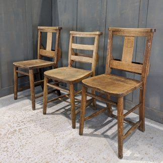 Three Quality Heavy & Well Made Church Chapel Chairs 'K'