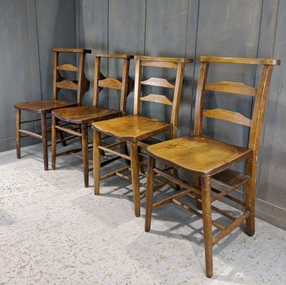 Harlequin Set of 4 Early 1900's Ladderback Antique Church Chapel Chairs 'R'